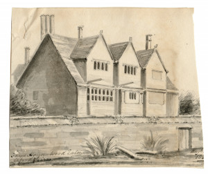 An Antique British Drawing Farm House Wood Eaton Oxfordshire Aug 1820's
