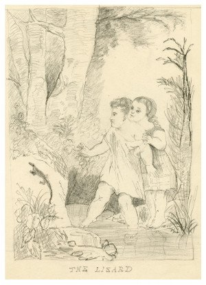 "An Antique Drawing Of Children At Play In The Forest ""The Lizard"""