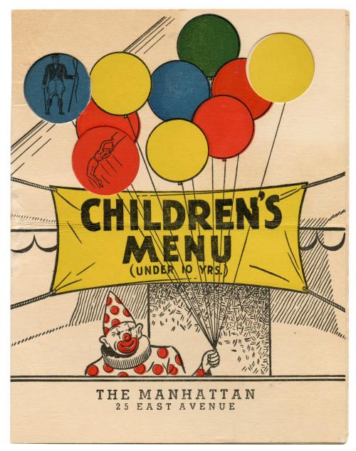 A Vintage 1950's-60's Children's Circus Theme Diner Restaurant Menu