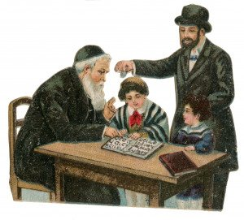 An Antique Judica Ephemera  Card Cover Learning The Torah