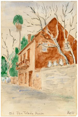 An Antique Watercolor Painting Of The Old Don Toledeo House Florida Wells 1927