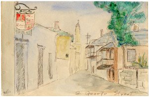 An Antique Watercolor Painting Of  St George Street St. Augustine Florida Wells 1927