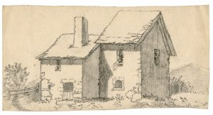 An Antique British Countryside Drawing Fragment Sketch