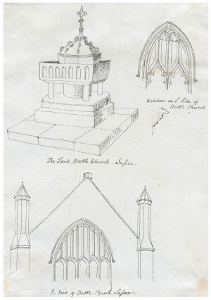 An Antique  Early 19th Century British Architectural Drawing Of Battle Church