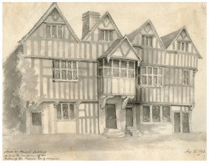 An Antique British Drawing Dated 1843 Ledbury Church Lane House #2