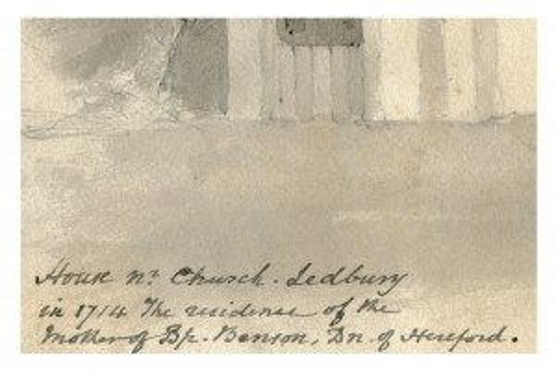 An Antique British Drawing Dated 1843 Ledbury Church Lane House #2