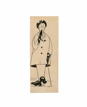 """An Antique Illustration Ink Drawing """"Gentleman Detecting A Skunk Signed Sitts"""