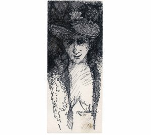 An Ink On Card Dated Portrait Drawing Study Signed P. Delvaux Attributed To Paul Delvaux (1897-1994)