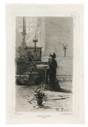 An Antique 19th Century Etching By Mose Bianchi & Alfred Cardart Paris