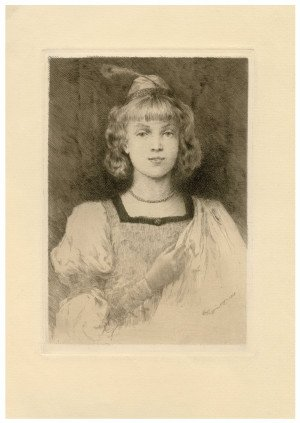 An Antique American Portrait Etching Signed W.H. Lippincott 1888