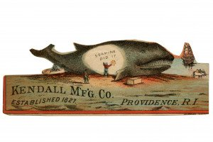 An Antique Kendall M'F'G' Co Since 1827 Giant Whale Advertising Ephemera Card