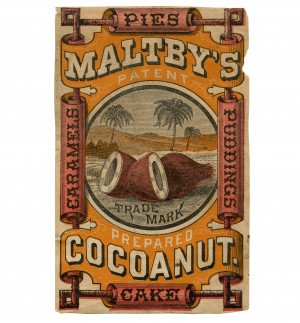 An Antique Advertising Ephemera Card For Maltby's Patent Prepared Coconut Pies, Cake, Caramels, & Puddings Label
