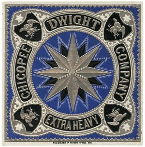 An Antique Silver & Blue Ground Chicopee Dwight Company Extra Heavy Embossed Paper Trade Label 1875