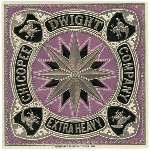 An Antique Purple Ground Chicopee Dwight Company Extra Heavy Embossed Paper Trade Label 1875