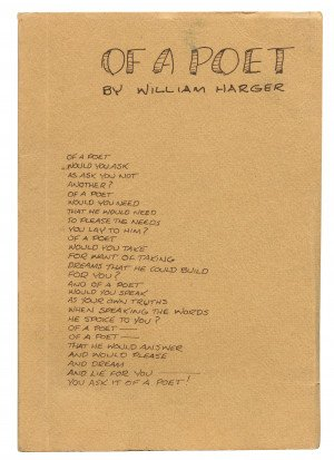 "A Vintage 1972 Signed & Inscribed ""Of A Poet"" By William Harger"