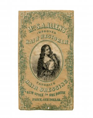 An Antique Victorian Mrs. S.A. Allen's Improved Hair Restorer Ephemera Trade Label