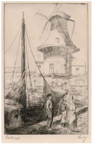 "An Antique Etching Print ""Holland"" Signed Ley"