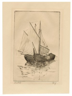 """An Antique Etching Print """"Sailboat"""" Signed Ley"""