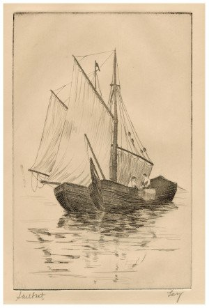 "An Antique Etching Print ""Sailboat"" Signed Ley"