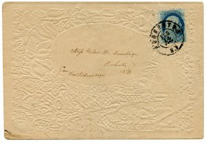 An Antique U.S. 1851 Benjamin Franklin 1 Cent Stamp Postal Cover