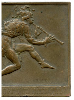 An Antique Karl Pearl Austrian Bronze Plaque Of the Pied Piper
