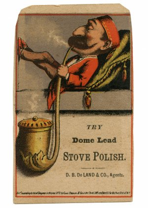 An Antique English Commercial Color Lithography Trade Card Dated 1870 Dome Lead Stove Polish