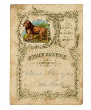 An Antique Victorian Era Reward Of Merit Lion Safari Theme Anna Flannigan
