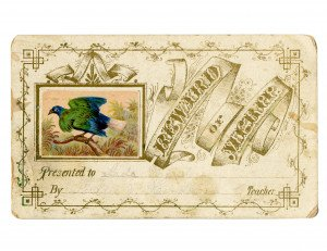 An Antique Victorian Era Reward Of Merit Safari Bird Theme Card