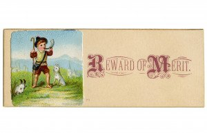 An Antique 19th Century Mountaineering Boy With His Dog Reward Of Merit Card