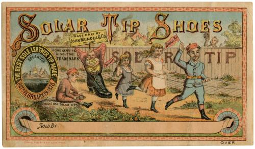 An Antique Solar Tip Shoes 1878 Craig Finley & Co. Commercial Printed Lithograph Trade Card Philadelphia