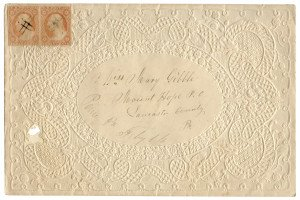 An Antique George Washington 1857 Issue 3 Cent Postal Cover Lancaster County Pennsylvania July 16