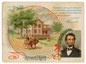 "An Antique Abraham Lincoln Reward Of Merit Collectable Ephemera Card ""We Are Not Enemies, But Friends"""