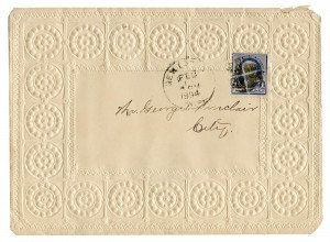 An Antique U.S. Postal Cover Benjamin Franklin One Cent Stamp February 1894