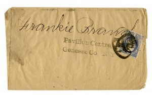 An Antique Early U.S. Postal Cover Pavilion Centre, Genesee C N.Y One Cent Benjamin Franklin Ultramarine