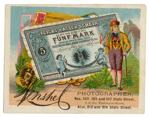 An Antique Collectable Trade Card Dated 1874 Reichs Kassen Schein Photographer