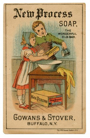 An Antique Collectable Ephemera Trade Card New Process Soap 3 Lb. Bar Gowans & Stover