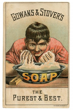 An Antique Collectable Trade Card For Gowans & Stovers Soap The Purest & Best G.H. Dunston, Lith Buffalo, N.Y.