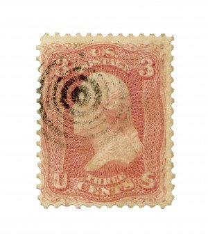 An Antique 1861 3 Cent Pink Washington Stamp American Bank Note Company Collectable U.S. Stamp