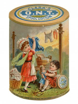 An Antique Collectable Trade Card For Clark's O.N.T. Spool Cotton Across The Line From Pole To Pole The Children's Clothes Depend On It