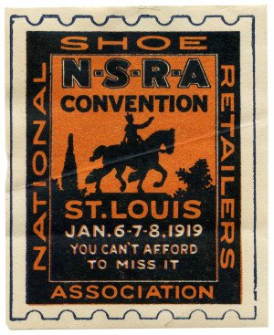 An Antique St. Louis Shoe Retailers Convention NSRA January 1919 Collectable Stamp