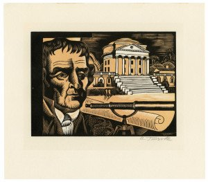 An Original Charles Turzak Woodcut Etching Signed By Charles Turzak, Thomas Jefferson Founding The University of Virginia