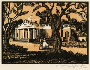 An Original Charles Turzak Woodcut Etching Signed Turzak The Sage of Monticello