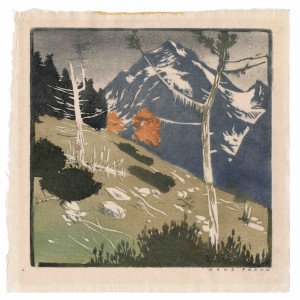 A Vintage German Mountain Scape Color Block Print Signed Hans Frank (1884-1948)