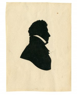 An Antique Silhouette Paper Cut Profile Portrait Of A Young Gentleman Dated 1825