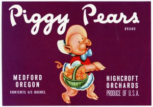 An Original Vintage Commercial Lithograph Advertising Box Print Piggy Pears Highcroft Orchards Medford Oregon