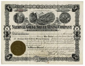 An Antique National Gold & Silver Mining Company Stock Certificate South Dakota Dated 1920 With 5 Cent U.S. Documentary Stamp