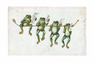 An Antique Singing Frogs Trade Ephemera Card M.E. Hastings