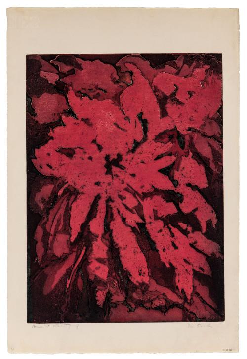 "A Vintage Doris Kreindler Artist Proof ""Poinsettias"" Series Intaglio Print"