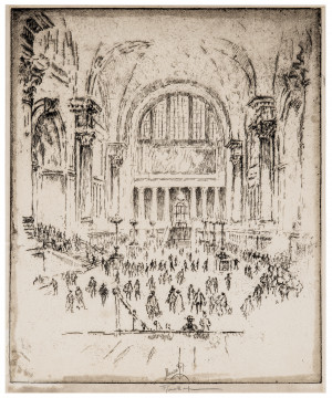 An Antique Etching By Joseph Pennell The Marble Hall Pennsylvania, NY 1919