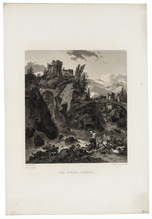 "An Antique Print Engraving Berghem ""The Sybil's Temple"" J Fittler A.R.A. Sculpsit"